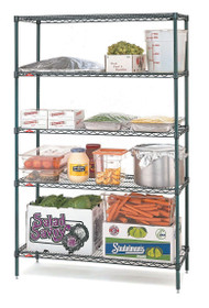 """Super Erecta® Convenience Pak Shelving Unit, 36""""W x 18""""D x 74""""H, (4) wire shelves with clips & (4) split posts with adjustable feet, Metroseal 3™ finish, KD, NSF"""