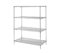 """Super Erecta® Convenience Pak Shelving Unit, 48""""W x 18""""D x 74""""H, (4) wire shelves with clips & (4) split posts with adjustable feet, chrome plated finish, KD, NSF"""
