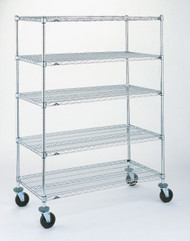 "Super Adjustable Super Erecta® Stem Caster Cart, wire, 48""W x 24""D x 67-7/8""H, (4) shelves, (4) posts, plastic split sleeves, donut bumper, chrome shelves & chrome plated posts (2) 5"" swivel (2) 5"" brake resilient rubber casters, 600 lb. capacity, NSF"