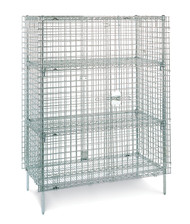 "Super Erecta® Security Unit, stationary, chrome plated finish, 62-1/2""W x 27-1/4""D x 66-13/16""H, no intermediate shelves, NSF. Shown with optional accessories."
