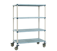 "MetroMax Q™ Mobile Shelving Unit, 60""W x 24""D x 67-5/16""H, (4) open grid polymer shelves with Microban® antimicrobial protection, (4) posts, (4) swivel resilient rubber casters (2 braked), epoxy coat steel frame, KD, NSF"