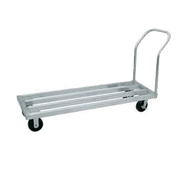 "Special Value Dunnage Rack, mobile, square bar, one tier, 48""W x 20""D x 9-1/4""H, aluminum finish with 6"" dia. casters, 36""H handle, 2100 lb. load capacity (evenly distributed)"
