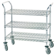"Special Value Wire Utility Cart, heavy duty, (3) shelves, shelf size approximately 36""W x 18""D, 38""H, chrome plated, (4) swivel rubber casters with donut bumpers (2 braked), NSF"