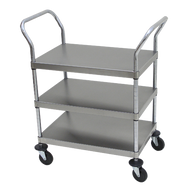 "Utility Cart, open design, three shelves, shelf size approximately 18"" x 27"", tubular stainless steel frame, with casters"