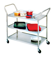 "Utility Cart, open design, three shelves, shelf size approximately 24"" x 33"", tubular stainless steel frame, with casters"