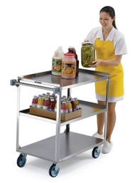 "Handler™ Medium Duty Utility Cart, 3-tier, open base, 500 lbs capacity, 21"" x 35"" shelf size, 13-1/8"" shelf clearance, sound deadening panels, one-piece vertical push handle, (2) bumpers on front legs, stainless steel construction, 5"" swivel casters with non-marking polyurethane tread"