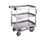 "Tough Transport® Utility Cart, 3-tier, 39""W x 22-3/4""D x 37-3/8""H, stainless steel construction, open base U-frame with angled stainless steel, 21"" x 33"" 14-gauge shelves with reinforced edges, 11-3/8"" shelf clearance, 1"" O.D. tube push handle with bumpers, (2) 6"" bumpers riveted to front legs, 1000 lb. capacity, (2) 5"" reinforced swivel plate casters & (2) 8"" fixed casters with non-marking polyurethane wheels, NSF"