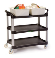 "Utility Cart, medium duty, (3) 16-3/4"" x 29-1/2"" shelves, 500 lb. capacity, 11"" shelf clearance, dent resistant, cushion grip push handle on each short side, 1"" lip on all sides, stain & odor resistant polyethylene, brushed aluminum legs, No-Mark® 4"" polyurethane swivel casters, charcoal (ships KD, no tools required for assembly)"