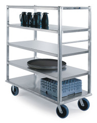 "Extreme Duty Queen Mary Banquet Cart, (5) shelf, shelf size 27""x 64"", all edges down, 12"" clearance between shelves, aluminum, 8"" casters (2) fixed & (2) swivel, 2500 lb. capacity, NSF"