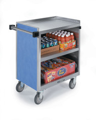 "Serv'n Express™ Kiosk, mobile, 77-1/4""W x 28-1/4""D x 52-1/2""H, (3) full size pan inserts (full size pans not included), (1) slide-out laminate shelf in middle compartment, (3) interior stainless steel compartments, heavy-duty tubular push handles, stainless steel with laminate finish, 8"" casters ( (2) swivel with brakes, (2) swivel with lock)"