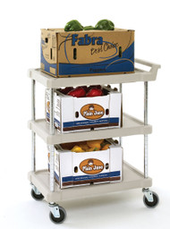 "myCart™ Series Utility Cart, (3) shelves, open base, 31-1/2""W x 18-5/16""D x 35-1/2""H, heavy duty plastic shelf, with (4) swivel/resilient tread casters, 3-shelf cart has a 400 lb. capacity per unit, black, NSF"