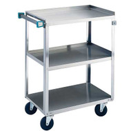 "Utility Cart, open, (3) shelf, shelf size 24""W x 15-1/2""D, stainless steel angle frame with push handle, 20 ga. stainless steel legs, 300 lb. capacity, 3-1/2"" swivel casters"