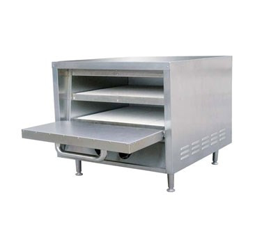 "Pizza Oven, 23""W x 25""D x 21""H, stackable, 2 removable ceramic hearth baking shelves with 3-1/4"" deck height, 18"" deck width, 15 minute continuous timer, 284°F to 680°F temperature range, stainless steel, 6 ft. power cord, 240v/50-60/1-ph, 2850 watt, 12 amps, NEMA 6-20P, CE, NSF"