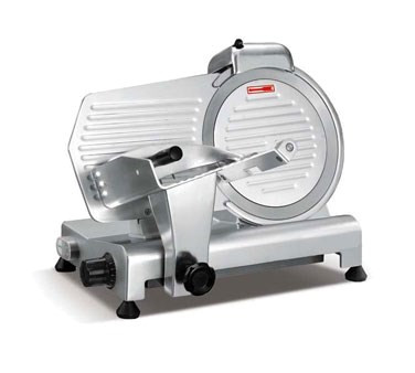 "Meat Slicer, 12"" blade, removable meat carriage, protective blade cover, automatic shutoff, built in sharpening system, belt-driven, aluminum, 1/3 HP, 120v/60/1-ph, 250 watt, 2 amps, NEMA 5-15P, ETL Sanitation, cETLus, CSA"