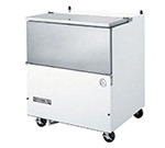 "School Milk Cooler, normal temperature, 34-1/2"" W, 31"" D, 13.6 cu. ft., single access, flat top carton capacities, (8) 13"" x 13"" x 11"" or (4) 19"" x 13"" x 11"" case capacity, with stainless steel door, white exterior, galvanized interior, (2) with brakes, 1/4 HP, C991"