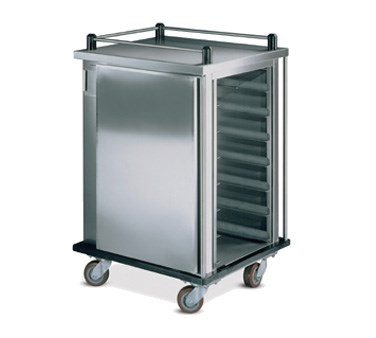"Value-Line Tray Delivery Cart, single compartment, enclosed style, non pass thru, 10 capacity, 14"" x 18"" or 15"" x 20"" trays, pull type door with drop latch, stainless steel construction, (4) 5"" casters, 2 swivel with brakes, 2 fixed without brakes (ICT/10)"