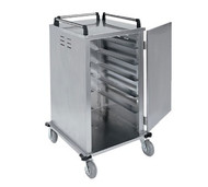 "Elite Series™ Tray Delivery Cart, enclosed-type, single door, single compartment with center floor drain, (12) 14"" x 18"" or (12) 15"" x 20"" tray capacity, 6"" spacing, 270° door swing, (2) 6"" fixed and (2) 6"" swivel casters, 2"" wide cushion tread tires, stainless steel construction, NSF"