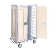 """Space-Sava Tray Delivery Truck, front & back doors, 2-compart., non-insulated, cap.(40) 14"""" X 18"""" trays, formed tray slides w/2"""" clearance, super-impact polymer construction, s/s top, bottom & back, HD perimeter bumpers, cream exterior, plated steel casters, NSF"""