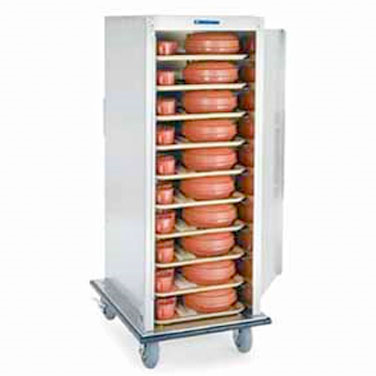 """Enclosed Tray Truck, enclosed-type, single door, single compartment, (20) 15"""" x 20"""" tray capacity, 5"""" ledge spacing, vertical push handles, aluminum construction,  (2) 6"""" fixed and (2) 6"""" swivel casters, perimeter bumper, NSF, Made in USA"""