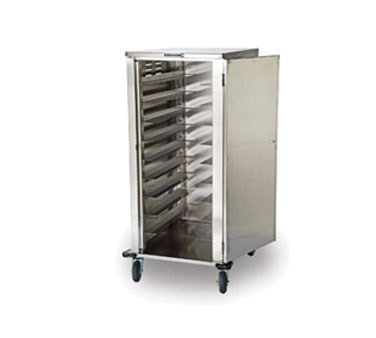 """Tray Delivery Cart, Elite Series™, enclosed-type, single door, single compartment (20) 14"""" x 18"""" or 15"""" x 20"""" tray capacity, (2) trays per ledge, 5-1/4"""" spacing, 270° door swing, (2) 6"""" fixed & (2) 6"""" swivel Lake-Glide® casters, 2"""" wide cushion tread tires, 200/300 stainless steel constructed, with corner bumpers, NSF"""