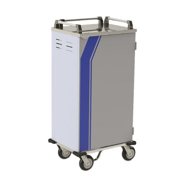 "Tray Delivery Cart, 2-compartment, 40-1/2""W x 25""D x 57""H, stainless steel construction, accommodates (14) 14"" x 18"" or 15"" x 20"" trays, removable insulated door with 270° swing, held in fully open position by imbedded magnets & top-mounted rotational door catch, removable ledge panels with 5"" spacing, vented end panels, creased floor with drain, full perimeter PVC bumper, anti-static conductive strap fastened to underside, (2) fixed & (2) swivel/brake 8"" plate casters with cushion tread, NSF, Made in USA"