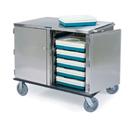 """Premier Series™ Tray Truck, enclosed, low-profile double compartment, non-insulated, capacity (32) 14""""x18"""" or 15""""x20"""" trays, 5"""" ledge spacing, stainless steel construction, 8"""" casters (2) fixed & (2) swivel, NSF"""