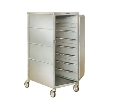 """Tray Delivery Cart, enclosed-type, single door, single compartment, (20) 15"""" x 20"""" tray capacity, (2) trays per ledge, 6"""" spacing, 270° door swing, 5"""" swivel casters, 200/300 stainless steel construction, NSF, Made in USA"""