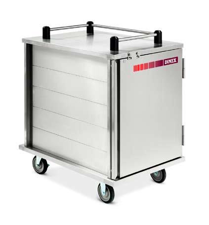 """Value-Line Tray Delivery Cart, single compartment, enclosed style, non pass thru, 12 capacity, 14"""" x 18"""" or 15"""" x 20"""" trays, pull type door with drop latch, stainless steel construction, (4) 5"""" casters, 2 swivel with brakes; 2 fixed without brakes (ICT/12) SHOWN WITH OPTIONS"""