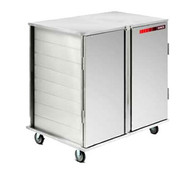 "Value-Line Tray Delivery Cart, double compartment, two door, enclosed style, non pass thru, 32 total capacity, 14"" x 18"", 15"" x 20"" or Dinex 1089RS1520/11 trays, pull type door with drop latch, (4) 5"" casters, 2 swivel with brakes; 2 fixed without brakes, stainless steel construction, NSF (ICT/322D)"