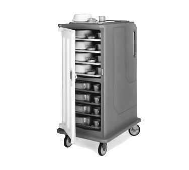 "Meal Delivery Cart, tall profile, (1) door, 2-compartments, holds (16) 14"" x 18"" trays, 28""W x 36-1/2""D x 58-1/8""H, molded-in handles, 1 per end, 6"" stainless steel casters (2 rigid, 2 swivel with brake), granite gray with cream color door, NSF"
