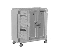 "Meal Delivery Cart, tall profile, (3) doors, 3-compartments, holds (30) 14"" x 18"" trays, 60""W x 29-1/4""D x 63-5/8""H, heavy duty nylon handles, 1 per end, 6"" stainless steel casters (2 rigid, 2 swivel with brake, offset), granite sand with cream color door, NSF"