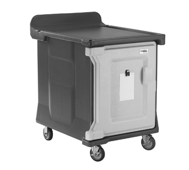 "Meal Delivery Cart, low profile, (1) door, 1-compartment, holds (10) 15"" x 20"" trays, 29-1/2"" x 38-1/2""D x 42-1/2""H, molded-in handle on the back, with louvered vent, 5"" casters (2 fixed, 2 swivel with brake, offset), granite sand with cream color door, NSF"