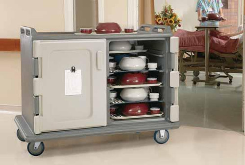 """Meal Delivery Cart, 55-1/8""""L x 38""""W x 44-1/4""""H, low profile, single stack rail system, double compartment with self-draining bottom, holds (20) 15"""" x 20"""" (38.1 x 50.8 cm ) trays, 5-1/2"""" (14 cm) clearance between rails, (2) lightweight non-rusting back aluminum louvered vents, nylon friction latches, non-insulated self venting doors, molded handles on both ends, (4) 6"""" (15.24 cm) non-marking slightly off-set casters (2 swivel with brakes & 2 rigid), thick foam polyurethane insulation, molded bottom bumpers, polyethylene, granite green, NSF (no assembly required)"""