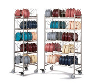 """TMP® Drying & Storage Cart, holds 100 domes or 200 bases/underliners or Quicktemp® bases, 1"""" stainless steel tubing frame, 4"""" casters (2 with brakes) (1173/X100)"""