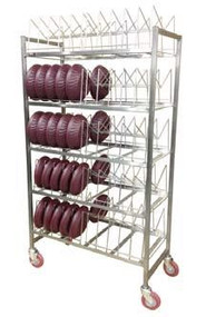 Dome Drying Rack;  stainless steel construction with removable wire caddy; capacity 100 domes or 200 underliners