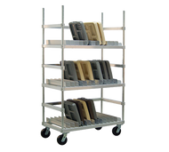 "Tray Drying Rack, heavy duty, adjustable, (108) tray capacity, 1-1/2"" spacing, U-brace for each shelf, aluminum construction, shelf dividers constructed of .080 sheet to prevent altering, 6"" heavy duty casters with tamper-resistant screws, KD (correctional specification)"