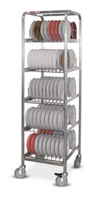 """Drying & Storage Rack, stainless steel, for Smart-Therm™ bases, holds 270 induction bases, 1"""" square stainless steel tubing frame construction, welded tray slides, 5"""" casters (2 with brakes) (IBDRS/270)"""