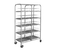 "Dome Storage Cart; with wash racks; for 7"" dome covers; 40 dome capacity; 1"" square stainless steel tubing frame construction; welded tray slides; 5"" casters (IRDSD7/40)"