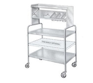 "Tray Starter Caddy, 38""L x 26""W x 52""H, 2 shelves, 2 overhead shelves, lower shelf tilted w/3 cutouts and s/s pans (all 1/3 size), raised retainer rails for placemats, s/s construction, 4"" HD swivel casters (2 with brakes)"