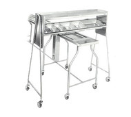 "Tray Starter Caddy, 69-1/2""W x 27""D x 65""H, for straddling conveyor, two shelves, lower shelf tilted with 6 cutouts: (3) 1/3 size, (2) 1/2 size & (1) full size (pans not included), stainless steel construction, 4"" swivel casters (2 with brakes), NSF"