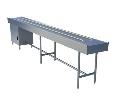 """Tray Make-Up Conveyor, band belt, 10' section, motorized dual 1/2"""" diameter FDA approved urethane belts, variable speed from 0-40 feet per minute, enclosed drive with NEMA 4 watertight controls, 1-5/8"""" diameter steel tubing """"H"""" frame on 6' - 7' centers with interconnecting cross rails, stainless steel construction"""