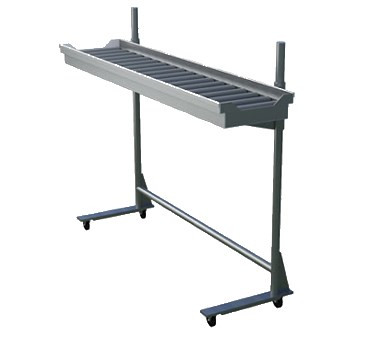"Tray Make-Up Conveyor, cantilever, PVC roller assemblies, 7' section, mobile, adjustable height, stainless steel uprights & frame, (6) 3"" casters, (3) with brakes"