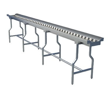 """Tray Make-Up Conveyor, 10' section, 2"""" O.D. grey PVC tubing with stainless steel ball bearings, rollers are mounted on stainless steel hex spring loaded shafts, 1-5/8"""" stainless steel tubular legs with bullet feet welded to conveyor frame"""