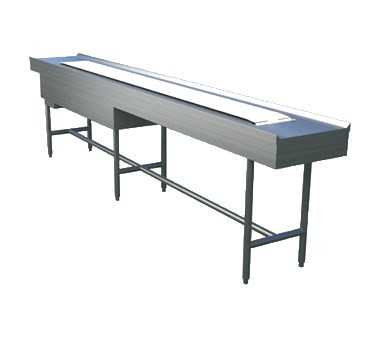 "Tray Make-Up Conveyor, slat belt, 12' section, motorized, variable speed from 0-40 feet per minute, enclosed drive with NEMA 4 watertight controls, 1-5/8"" diameter steel tubing ""H"" frame on 6"" - 7"" centers with interconnecting cross rails, stainless steel construction"