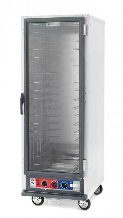 """C5™ 1 Series Heated Holding Cabinet, mobile, full height, non-insulated, clear polycarbonate door, removable bottom mount control module, thermostat to 190ºF, universal wire slides on 3"""" centers, adjustable on 1-1/2"""" increments (18) 18"""" x 26"""" or (34) 12"""" x 20"""" x 2-1/2"""" pan capacity, 5"""" casters (two with brakes), aluminum, 120v/60/1-ph, 2000 watts, 16.7 amps, NEMA 5-20P, UL, CUL, NSF"""