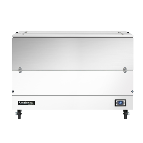 """Milk Cooler, 58"""" long, dual access, cold wall cooling, (16) 13"""" x 13"""" x 11"""" or (10) 19"""" x 13"""" x 11"""" crate capacity, stainless steel top, lids & doors, door cylinder security locks, electronic control with digital display, hi-low alarm, hi/low temperature alarm, white finished steel exterior body, galvanized interior with reinforced stainless steel floor, floor drain, (4) 5"""" swivel casters with front locking brakes, 1/3 HP, cETLus, NSF, Made in USA"""