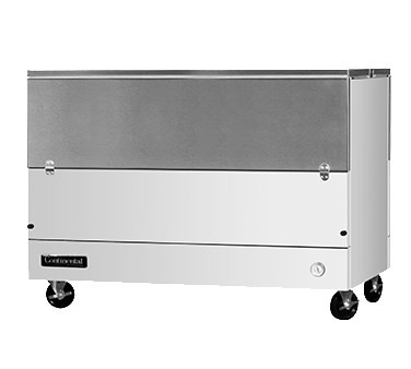 """Milk Cooler, 58"""" long, single access, forced air cooling, (16) 13"""" x 13"""" x 11"""" or (10) 19"""" x 13"""" x 11"""" crate capacity, stainless steel top, lid & door, door cylinder security lock, electronic control with digital display, hi-low alarm, hi/low temperature alarm, white finished steel exterior body, galvanized interior with reinforced stainless steel floor, floor drain, (4) 5"""" swivel casters with front locking brakes, 1/3 HP, cETLus, NSF, Made in USA"""