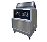 "Milk Cooler, open front, dual access, 48-5/8"" long, 17.8 cubic feet capacity, (3) epoxy coated heavy-duty floor racks, NSF listed drain & thermometer, fold back locking doors, stainless steel door exterior & hinges, stainless steel exterior and interior, (4) swivel casters, (2) locking, cold wall self-contained refrigeration, 1/5 hp, 115v/60/1-ph, 3.3 amps"