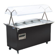 "Affordable Portable™ Hot Food Station, (4) well, 60""W x 39-1/2""D x 35""H, buffet style breath guard with Lights (bulbs not included), enclosed base with sliding doors for storage, manual control for each 700 watts well, black vinyl-clad 20 gauge carbon steel base, (4) 4"" swivel casters (2) braked, 120/280-240v/60/1-ph, 15.9 amps, 8' cord with NEMA 14-20P, cULus, NSF Made in USA"