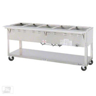 "Aerohot Steamtable Portable Hot Food Unit, 72-3/8""L, electric, (5) 12"" x 20"" sealed hot food wells with individual drains with valves, infinite controls, stainless steel top with 1/2"" thick x 7"" wide poly carving board, stainless steel open base with undershelf, 5"" casters"